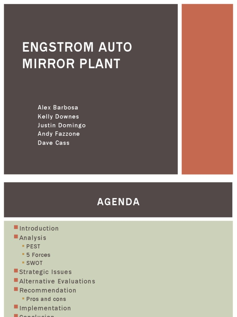 engstrom auto mirror plant motivating in Attachments engstrom_auto_mirror_plantpdf engstrom auto mirror plant: motivating in good times and bad_____ hbs professor michael beer and elizabeth collins prepared this case solely as a basis.