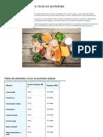 Principales alimentos ricos en proteínas