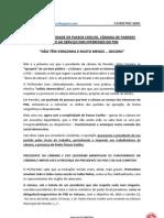 Comunicado CELSO FERREIRA E CAMARA DE PAREDES NÃO TÊM VERGONHA