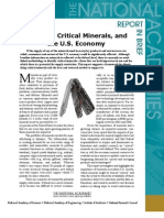 Minerals, Critical Minerals, and the US Economy, Report In Brief