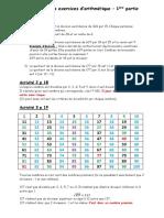 Correction Des Exercices d'Arithmétique - 1ère Partie
