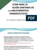 GESTIÓN PARA LA AUTORIZACIÓN SANITARIA DE ESTABLECIMIENTOS FARMACÉUTICOS