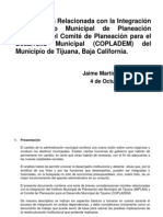 Notas Sobre La Fusión Implan Copladem Tijuana
