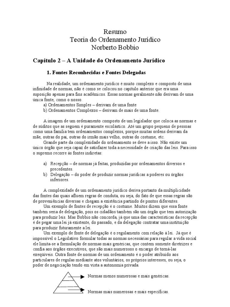 Resumo teoria do ordenamneto jurídico 2 bobbio.