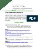 Síntesis de noticias 2011-04-13
