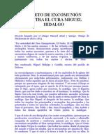 DECRETO DE EXCOMUNIÓN CONTRA EL CURA MIGUEL HIDALGO