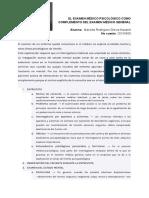 El examen médico psicológico como complemento del examen médico general y cuadro SQAIA