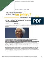 Le FMI inquiet d'un risque de _déraillement_ de l'économie mondiale - Challenges