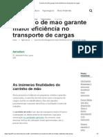 Carrinho de mão garante maior eficiência no transporte de cargas