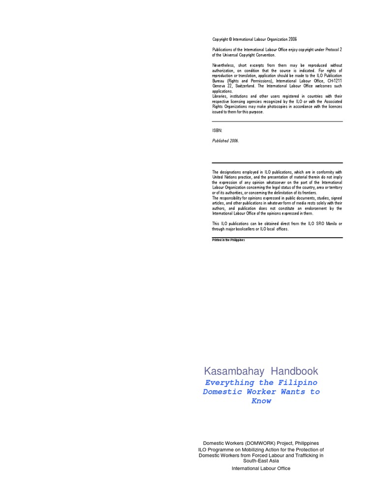 Kasambahay Handbook   Domestic Worker   International Labour Organization