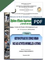 Gestion Efficace de l'Espace Urbain Face Aux Activites Informelles a Cotonou