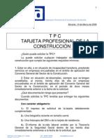 TARJETA PROFESIONAL DE LA CONSTRUCCION. ALICANTE