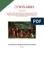 XX Domingo Después de Pentecostés. Leccionario Misal 1962