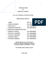 MSc Accounting - SEMINAR PAPER on FORENSIC AUDIT