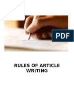 Rules of Article Writing