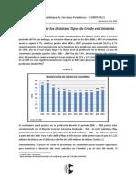 La producción de los distintos crudos en Colombia