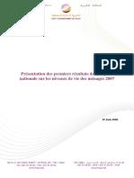 Premiers Résultats de l'Enquête Nationale Sur Le Niveau de Vie Des Ménages 2007 (Version Française)