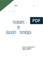 vocabulario de educación tecnológica