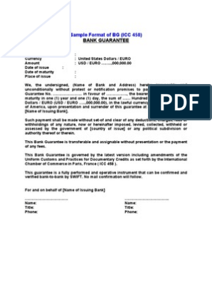 SBLC and BG FORMAT INSTRUMENT | Letter Of Credit | Banks