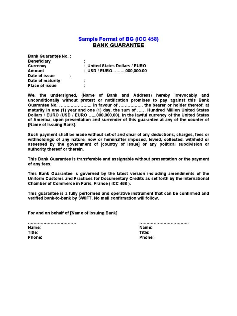 Sblc And Bg Format Instrument Letter Of Credit Credit Finance