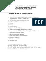 Internship Format MBA