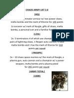 CHAOS ARMY LIST 2.0