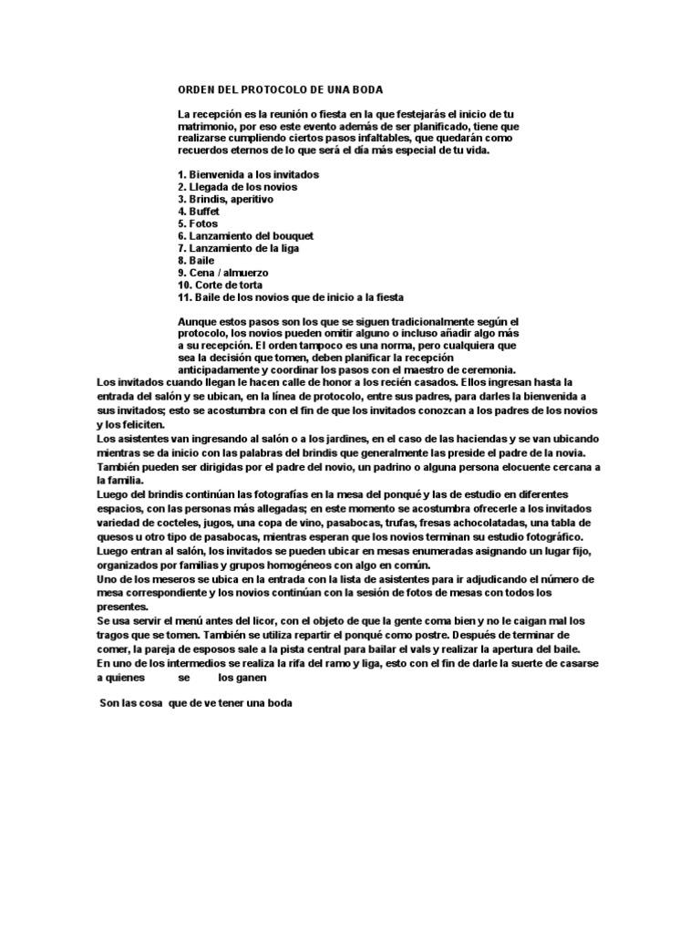 ORDEN DEL PROTOCOLO DE UNA BODA