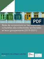Note de Conjoncture Sur Les Depenses Culturelles Des Collectivites 2019 2021