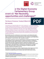 Briefing for the Digital Economy All Party Parliamentary Group Event on Net Neutrality Opportunities and Challenges