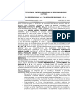 CONSTITUCION DE EIRL - CENTRO RECREACIONAL LAS PALMERAS DE MORONA E.I.R.L.