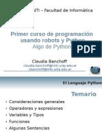 Primer curso de programación usando robots y Python