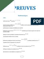Mathématiques epreuves