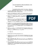 Métodos Matemáticos - Bateria de questões - AP1