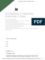 RECUPERAÇÃO 2º TRIMESTRE LITERATURA, 3ª SÉRIE