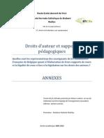 Annexes - Droits d'auteur et supports pédagogiques - Quelles sont les représentations des enseignants de la Communauté Française de Belgique quant à l'élaboration de leurs supports de cours et la légalité de ceux-ci face à la législation sur les droits des auteurs ?
