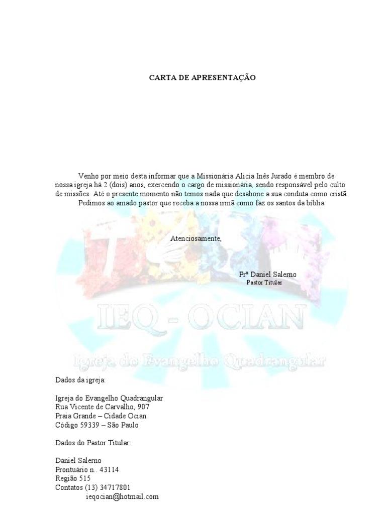 Breve carta de apresentacao