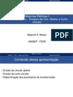 Aula 2c - Maquinas I - Transformadores -Ensaio CA e CC