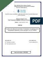 La Place Du Tableau de Bord Dans l'Évaluation Et Le Pilotage de La Performance Financière d'Une Entreprise Cas de CANDIA