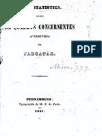 Estatística populacional Engenho de Jaboatão, PE, 1857