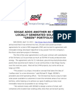 SDGE Adds Another 80 MW of Locally Generated Solar to 'Green' Portfolio