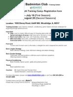 2011 Summer Youth Training Camp -  Registration Form