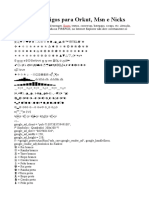 Símbolos e Códigos para Orkut, Msn e Nicks