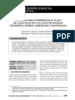 21- Criterios Para Interpretar El Plazo de Caducidad a Efectos de Accionar Judicialmente en Los Casos de Nulidad de Despido, Despido Arbitrario y Hostilidad
