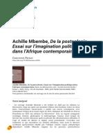 Achille Mbembe, De La Postcolonie, Essai Sur l'Imagination Politique Dans l'Afrique Contemporaine