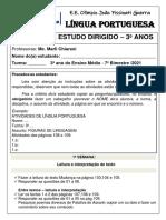 ESTUDO DIRIGIDO 7º BIMESTRE - 3º ANOS - LP