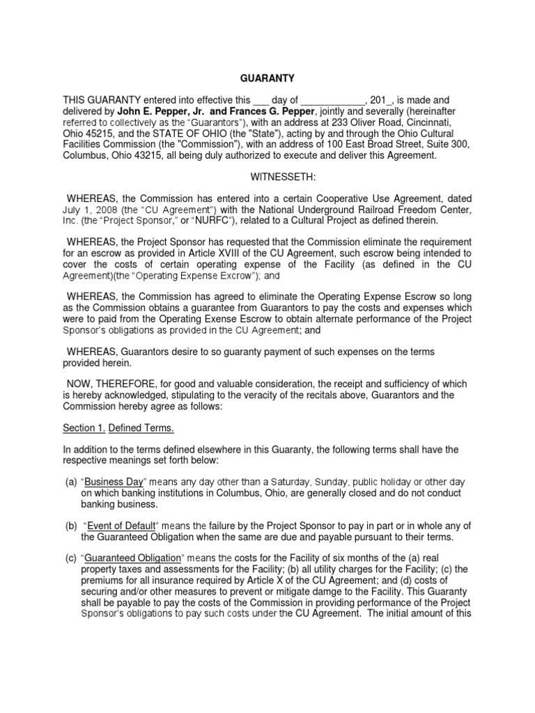 22 Pepper Second Guaranty Agreement Guarantee Legal Concepts