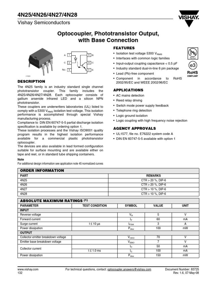 4n25 datasheet(pdf) infineon technologies ag.