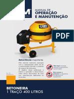 Manual Betoneira 400L 1 TRAÇO