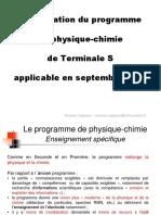 Présentation Du Programme. de Physique-chimie. de Terminale S. Applicable en Septembre 2012