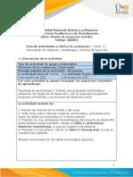 Guia de actividades y rúbrica de evaluación - Tarea 3 - Articulación de objetivos, metodología y tiempos de ejecución